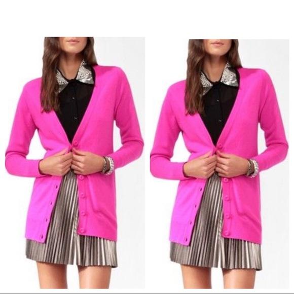 highly praised limited price bottom price HOT PINK cardigan v-neck boyfriend sweater neon